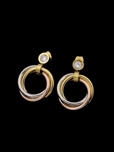 Titanium Tri-color, three-ring, single diamond titanium steel necklace