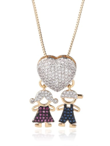 Brass Cubic Zirconia Heart Cute boy and gril pendant Necklace