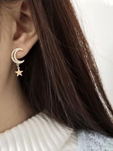 925 Sterling Silver Cubic Zirconia White Star Moon  Cute Stud Earring