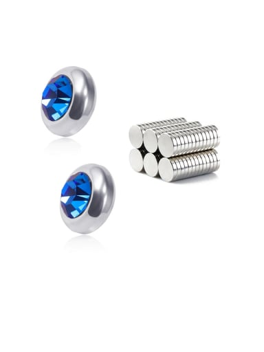 Sapphire Blue 8mm Titanium Rhinestone Multi Color Round Minimalist  Single Rhinestone  Magnet Stud Earring