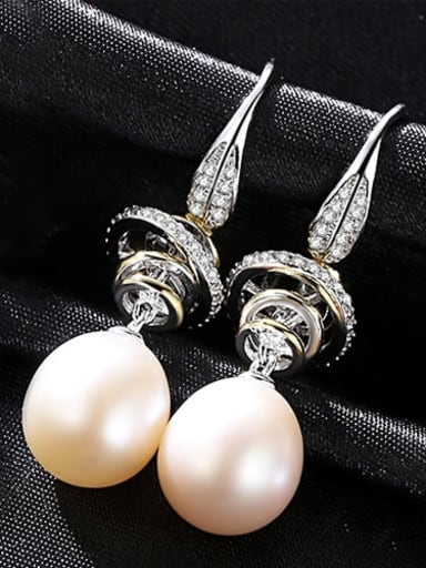 White 1A10 925 Sterling Silver Freshwater Pearl White Round Trend Hook Earring