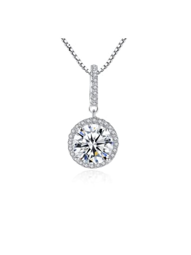925 Sterling Silver Cubic Zirconia Simple round pendant Necklace