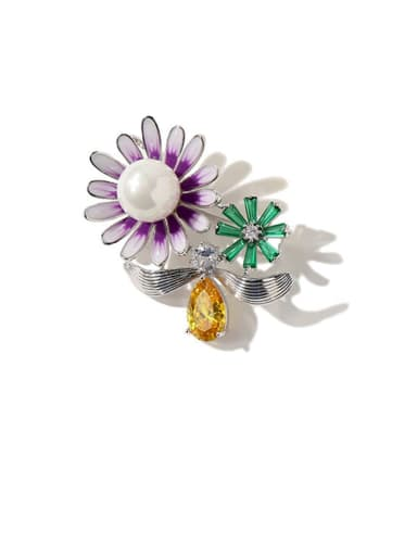 platinum Copper Cubic Zirconia Multi Color Enamel Flower Dainty Brooches