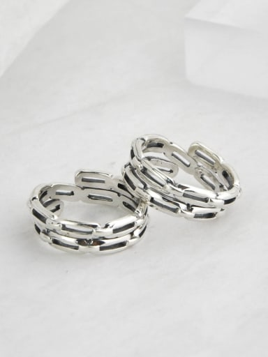 Vintage Sterling Silver With Platinum Plated Simplistic Hollow Geometric Free Size Rings