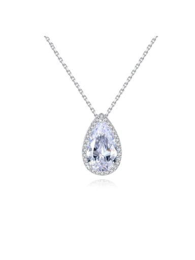 925 Sterling Silver Cubic Zirconia  long water drop pendant Necklace