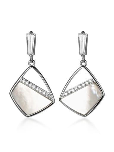 925 Sterling Silver Shell Geometric Minimalist Drop Earring