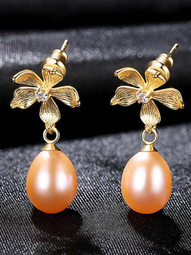 Powder 3H10 925 Sterling Silver Freshwater Pearl Flower Vintage Drop Earring