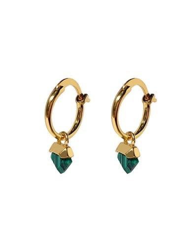 Golden green Copper Glass stone Triangle Dainty Huggie Earring