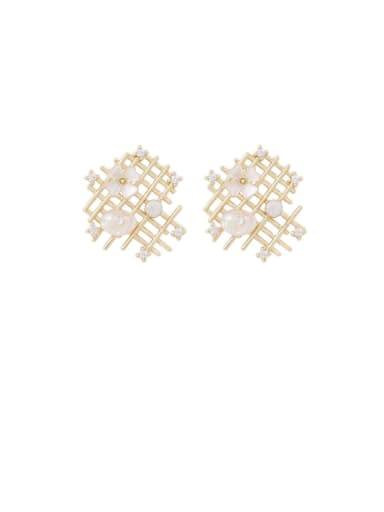 Brass Shell White Hollow Geometric Minimalist Stud Earring