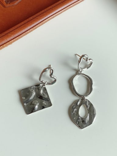 925 Sterling Silver Irregular Geometry   Vintage Chandelier Earring