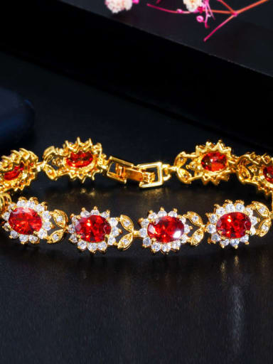 gules Copper Cubic Zirconia Flower Luxury Bracelet