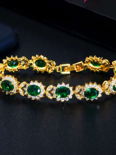 green Copper Cubic Zirconia Flower Luxury Bracelet