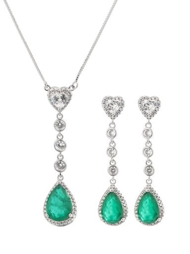 Brass Cubic Zirconia Vintage Water Drop  Earring and Necklace Set