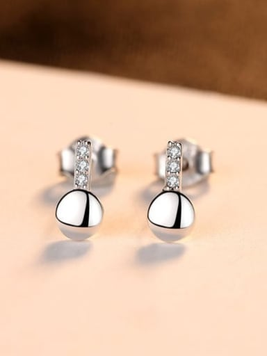 Platinum 16e06 925 Sterling Silver Rhinestone Smooth Round Minimalist Stud Earring