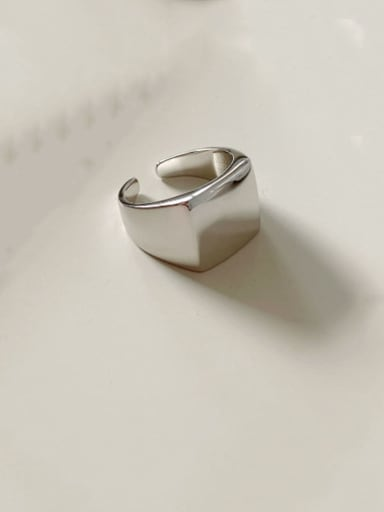 925 Sterling Silver Minimalist Square  Free Size Ring