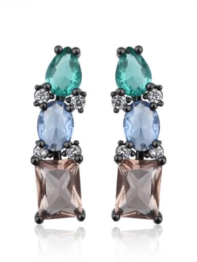 Copper Glass Stone Bead Geometric Vintage Drop Earring