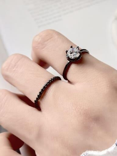 925 Sterling Silver Cubic Zirconia  Geometric Minimalist Midi Ring