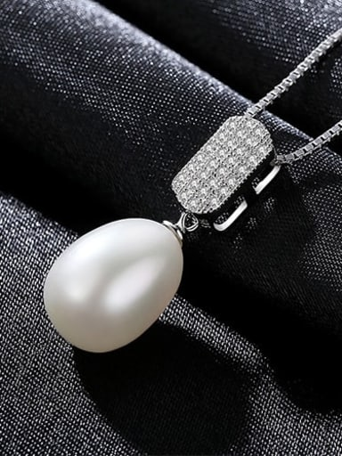 White 5A04 925 sterling silver simple fashion Freshwater Pearl Pendant Necklace