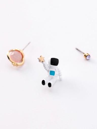 B Pink Planet Zinc Alloy  Enamel Cute  Planet Universe Astronaut Stud Earring