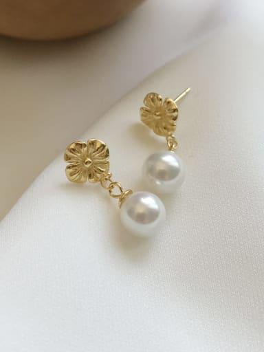 925 Sterling Silver Imitation Pearl White Flower Minimalist Drop Earring