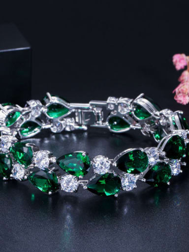 Emerald 19cm Copper Cubic Zirconia Geometric Luxury Bracelet