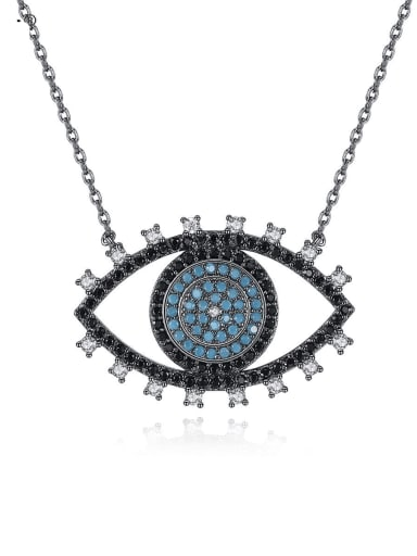 Copper Cubic Zirconia Ethnic  Black Evil Eye Pendant Necklace