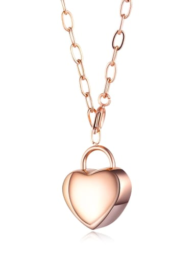 1613 rose gold necklace Titanium Smooth Heart Pendants Necklace