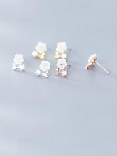 925 Sterling Silver White Acrylic Flower Minimalist Stud Earring