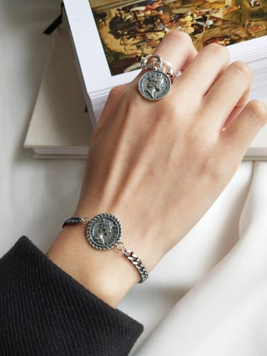 925 Sterling Silver  Chain Coin Bracelet  Bracelet