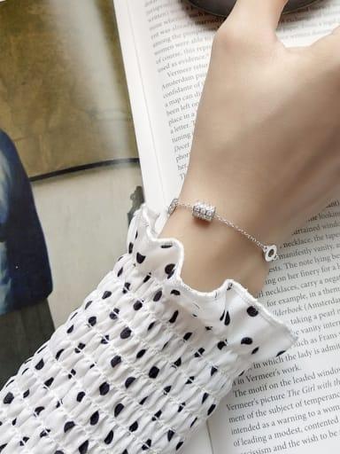 925 Sterling Silver Cubic Zirconia Geometric Dainty Charm Bracelet