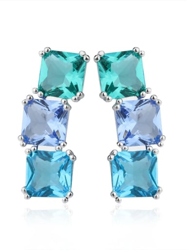Copper Cubic Zirconia Square Luxury Drop Earring