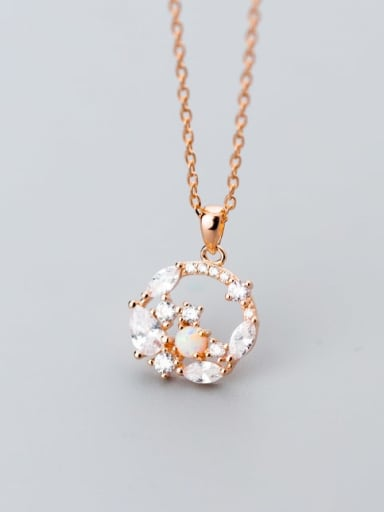 925 Sterling Silver Cubic Zirconia  Round  Flowers Dainty Pendant  Necklace