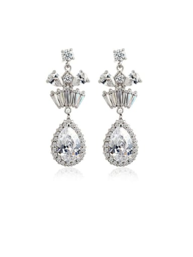 Copper Cubic Zirconia Water Drop Dainty Drop Earring