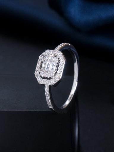 Platinum US 6 Copper Cubic Zirconia Geometric Dainty Band Ring