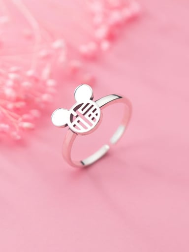 925 Sterling Silver Minimalist Hollow Mouse  Free Size Ring