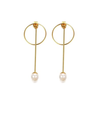 Stainless Steel Imitation Pearl White Round Minimalist Drop Earring
