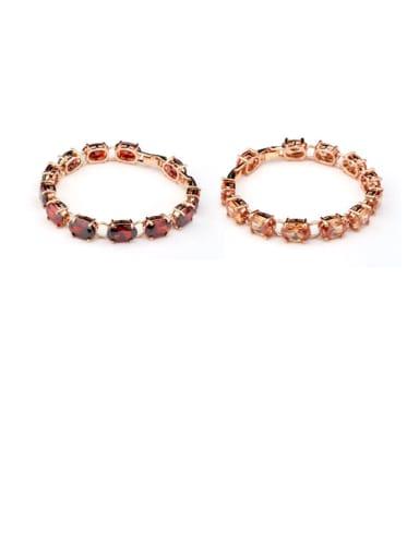 Copper  Cubic Zirconia Oval Vintage Bracelet