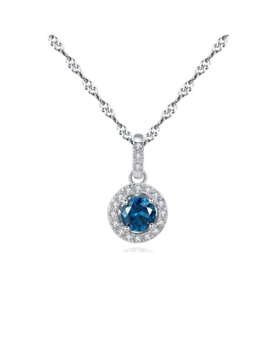 925 Sterling Silver Cubic Zirconia Multi Color  Simple Round Necklace