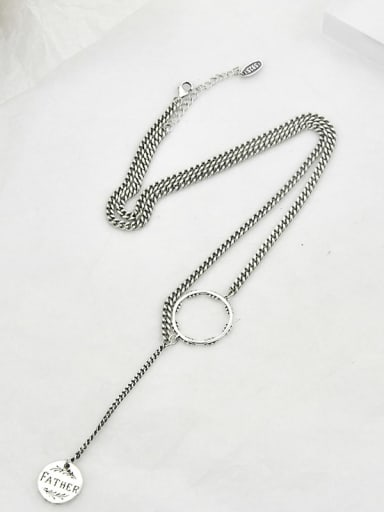 Vintage  Sterling Silver With Antique Silver Plated Vintage Hollow Round Necklaces