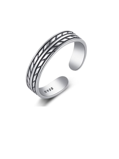925 Sterling Silver Simple and stylish leaf shape smear retro Band Ring