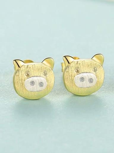 SE0297 18K 24D11 925 Sterling Silver Pig Minimalist Stud Earring