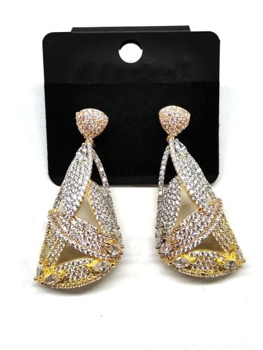 Copper Cubic Zirconia White Geometric Dainty Drop Earring