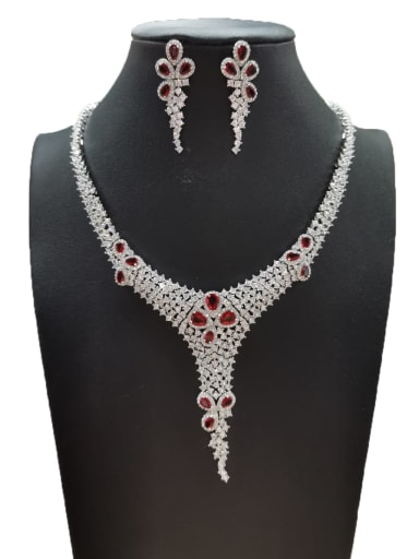 Red Dainty Water Drop Copper Cubic Zirconia White Earring And Necklace Set