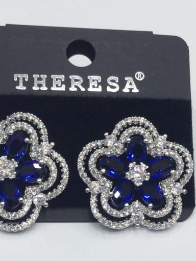 Copper Cubic Zirconia Blue Flower Dainty Stud Earring