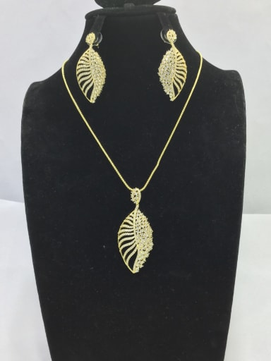 Artisan Leaf Copper Cubic Zirconia White Earring And Necklace Set