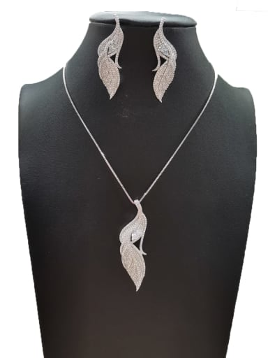 Bohemia Feather Copper Cubic Zirconia White Earring And Necklace Set