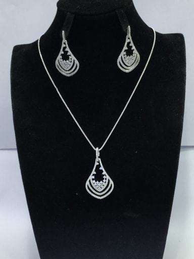 Minimalist Irregular Copper Cubic Zirconia White Earring And Necklace Set