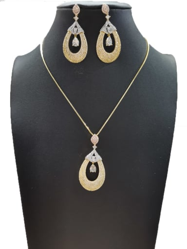 Minimalist Water Drop Copper Cubic Zirconia White Earring And Necklace Set