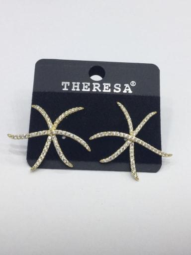 Copper Rhinestone White Star Minimalist Stud Earring