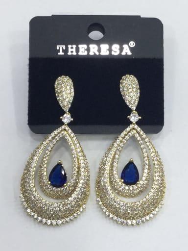 Copper Cubic Zirconia Blue Water Drop Luxury Drop Earring